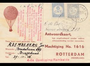 Niederlande: 1946: Antwoordkaart Braaschat nach Rotterdam - Ballon