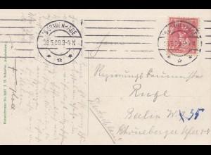 Niederlande: 1909: Ansichtskarte S'Gravenhage nach Berlin/Perfin