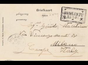 Niederlande: 1901: Ansichtskarte Niederl. Indien nach Milano - Singanfu