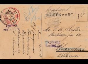 Niederlande: 1928: Briefkaart - Drucksache nach Shanghai