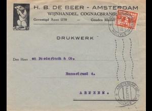 Niederlande: 1927: Amsterdam als Drucksache nach Arnhem