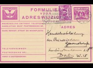 Niederlande: 1932: Ganzsache Gravenhage nach Berlin