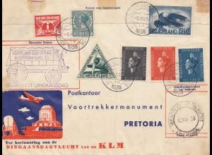 Niederlande: 1938: Amsterdam -Pretoria/Süd Afrika und frankiert zurück