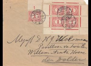 Niederlande: 1916: Utrecht - alle 4 Ecken auf Brief