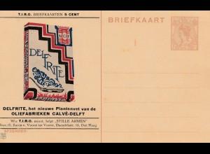 Niederlande: Ganzsache Briefkaart Delfrite