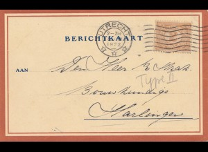 Niederlande: 1922: Berichtkaart Utrecht nach Harlingen - Type II