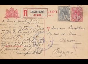 Niederlande: 1918: Briefkaart Einschreiben Amersfoort nach Belgien-Zensur