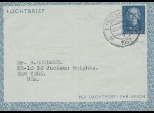 Niederlande: 1952: Eindhofen nach USA-Luftpost