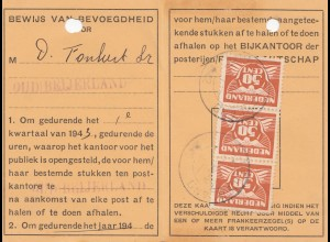Niederlande: 1942: Bewijs van Bevoegdheid voor het afhalen van Stukken