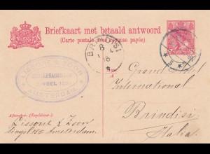 Niederlande: 1914: Ganzsache Briefkaat met antwoord kaart