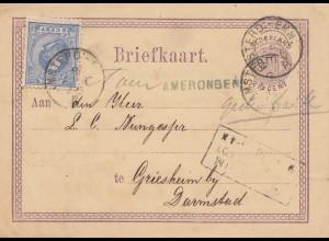Niederlande: 1876: Ganzsache BriefkaartAmerongen nach Griesheim/Darmstadt