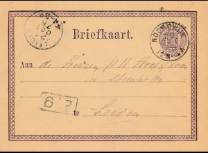 Niederlande: 1876: Ganzsache nach Leiden