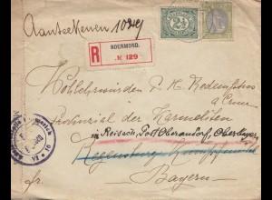 Niederlande: 1917: Einschreiben Rodermond nach Regensburg - Zensur