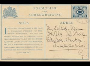 Niederlande: 1921: Ganzsache Formulier voor Adreswijziging