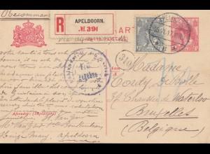Niederlande: 1917:Ganzsache Einschreiben Apeldoorn nach Belgien-Zensur