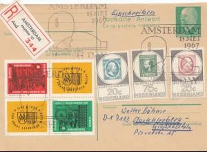 Niederlande: 1967: Einschreiben Amsterdam - Deutschland - Anwort-Ganzsache DDR