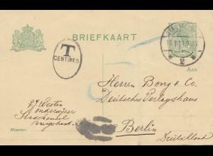 Niederlande: 1919: Ganzsache nach Berlin - Mittelbug