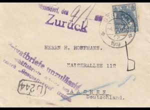 Niederlande: 1919: Utrecht nach Aachen - Düsseldorf Privatbriefe unzulässig!!!