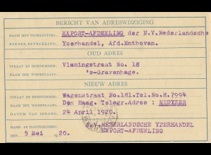 Niederlande: 1920: Haarlem-Ganzsache 5x Adreswijziging