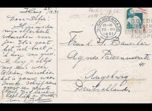 Niederlande: 1931: Gravenhage nach Augsburg