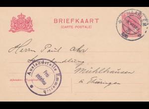 Niederlande: 1916: Ganzsache Haarlem nach Thüringen - Auslandsstelle Emmerich
