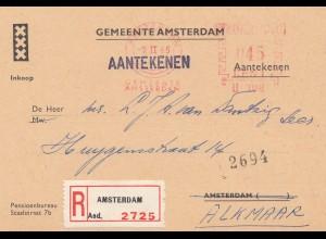 Niederlande: 1965: Einschreiben Amsterdam nach Alkmaar