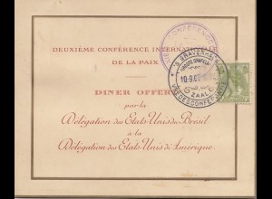 Niederlande: 1907 Gravenhage: Speise- und Tischkarte Amerique/Brésil