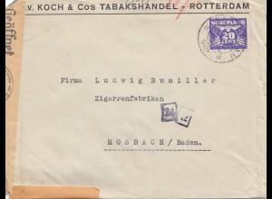 Niederlande: 1942: Rotterdam nach Mosbach OKW Zensur