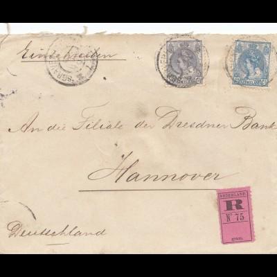 Niederlande: 1902: Einschreiben Blanckenhagen nach Hannover