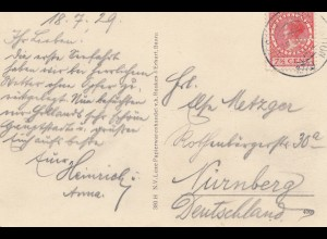 Niederlande: 1929: Ansichtskarte Amsterdam nach Nürnberg - Perfin