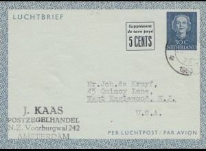 Niederlande: 1953: Ganzsachen Luftpostbrief nach USA von Amsterdam