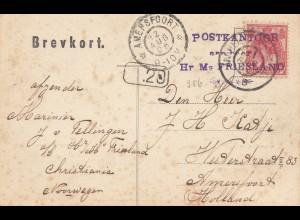 Niederlande: 1906: Ansichtskarte Kristiania nach Amerfoort