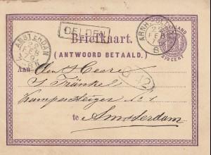 Niederlande: 1879: Ganzsache Antwoord Betaald Arnheim nach Amsterdam