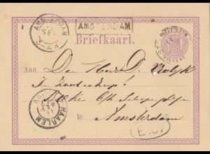 Niederlande: 1877 Ganzsache Haarlem - Amsterdam