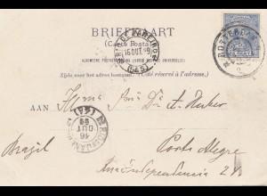Niederlande: 1899: Briefkaart Rotterdam nach Porto Alegre - Brazil