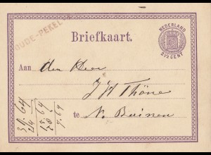 Niederlande: 1872: Ganzache - Briefkaart Dude Pekel