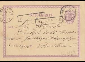 Niederlande: 1877: Ganzsache HIlversum - Amsterdam