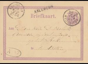 Niederlande: 1877: Ganzsache nach Amstellen