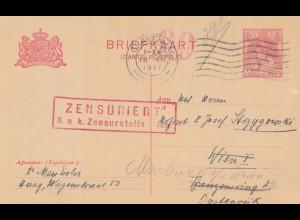 Niederlande: 1917: Ganzsache Gravenhage nach Wien