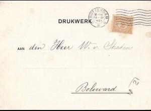 Niederlande: 1929: Rotterdam Drukwerk nach Bolsward