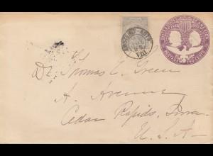 Niederlande: 1895: Ganzsache Amsterdam nach USA