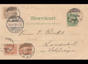 Norwegen: 1900: Ganzsache Kristiania nach Landshut