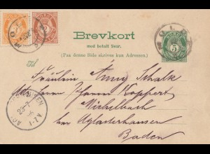 Norwegen: 1896: Ganzsache nach Michelbach, mit ungebrauchter Antwortkarte