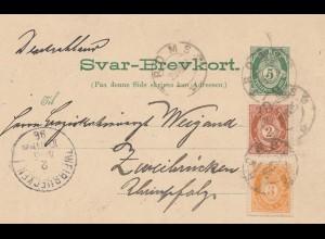 Norwegen: 1896: Ganzsache Romso nach Zweibrücken