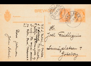 Norwegen: 1915: Ganzsache Slemdal i Aker nach Göteborg