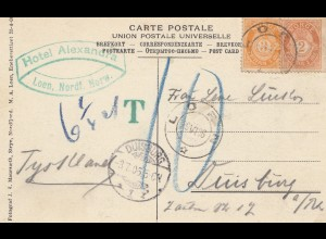 Norwegen: 1906: Ansichtskarte Loen nach Duisburg -Nachtaxe