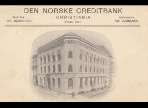 Norwegen: 1911: Ansichtskarte Den Norske Creditbank Christiania