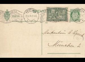 Norwegen: 1914: Kristiania nach München - Ganzsache