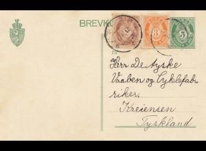 Norwegen: 1912: Ganzsache nach Deutschland