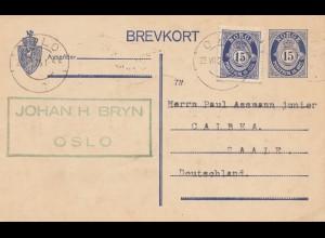 Norwegen: 1925: Ganzsache Oslo nach Saale